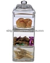 Venda quente feitas à mão 3 camada frasco do armazenamento de vidro