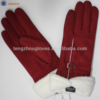 2014 new collection ladies style dress sheep suede leather gloves with white teddy fur lining