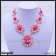 2014 new product floral statement necklace red coral bead necklace set