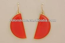 Coral acrylic stone gold earrings gold half circle earrings