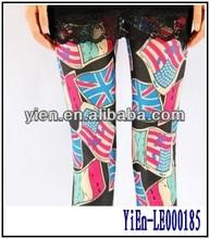 Colorido cortadas Leggings Stretchy calças abstrato modelado alto das crianças