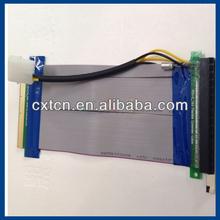 PCI-E Express 16X To 16X Riser Card Cable Flex Extender Molex Power Adapter