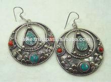 Tibet earrings for women turquoise jewelry 925 silver