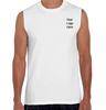 Cheap man sleeveless o-neck custom black printing t shirt