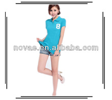Fashion ladies trendy embroidered short sleeve women polo t-shirts