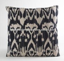 Black ikat kantha work Cushion Cover / Pillow covers Jaipur Rajasthan