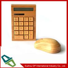 New Design Novelty Solar Powered China Bamboo Calculator&WirelessMouse