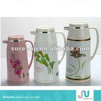 2014 New design glass jug metal flower jug glass water jug with lid