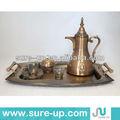 novo design de luxo bebida jarro de vidro de bronze arábica jarro conjunto de copos e jarra de chá