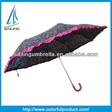 Hot sale Lady Anti-UV Curve Handle Folding Umbrella