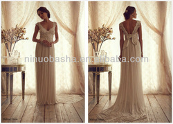 Hot Sale V-Neck Cap Sleeve Lace Beaded Top Bodice Empire Wedding Dress 2014 Chiffon Maternity Bridal Gown NB0197