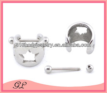 NA01011 stainless steel pentagram slave nipple ring