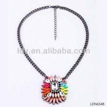 Wholesale alibaba rhinestone pendant necklace spring color resin & rhinestone charm choker necklace