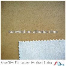 Micro peau de porc grain cuir d'unité centrale pour la grande- grade chaussures doublure