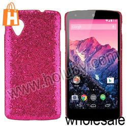Glitter Powder Leather Coated Hard Case for LG Nexus 5 D820