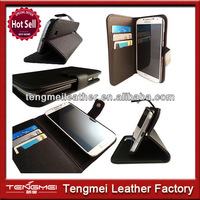 Credit card style PU leather smart cell phone wallet cover case for samsung galaxy s5