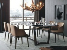 2014 new design dining room furniture set thick wood slab dining table E-31