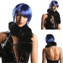 Cheap Fashion Synthetic Kanekalon Fiber Disposable Short Straight Hair Wig Football Fans Wig Blue Cosplay Wigs