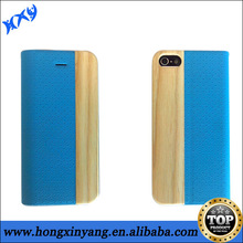 Real Genuine Bamboo Wood Filp PU Leather Case Cover For iPhone 5 5S