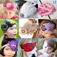 Baby Hair Accessories Girls Hair Feathers Fashion Headwear Children Pearl Flower Bowknot Headbands HA40319-2