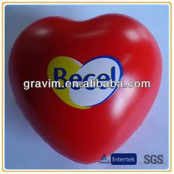 different size red big heart PU foam stress ball
