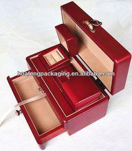 Glossy multideck mini wooden treasure chest jewelry box