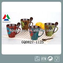 11oz ceramic mug reactive glazes with spoon and flower design