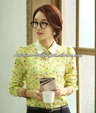 2014 Hot ladies korean fashion casual chiffon blouses with plus size wholesale clothing