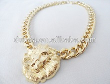Hot Selling 2014 New Design Retro Exaggeration Lion Zinc Alloy Necklaces,Elegant Party Apply Necklace,Jewelry Unique Necklaces
