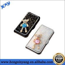 leather phone case for iphone Luxurious shining diamond rhinestone mobile case