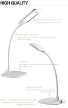 Ultra-thin plated edge lamp head, ultra-fine goose neck lamp arm, ultra-thin lamp base touch dimmer hotel tabl with rechargeable