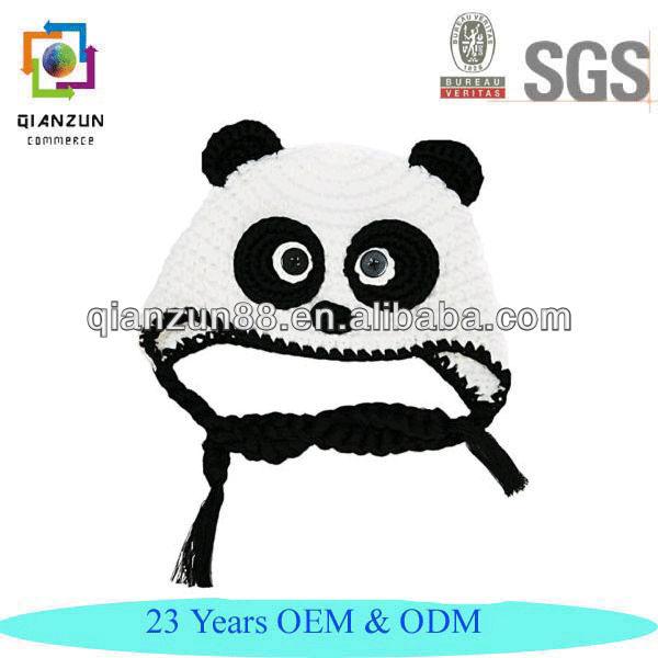 Baby Panda Earflap Ear Flap Hat Beanie Crochet Handmade Cap Knitting Patterns For Beanie Hats Cute