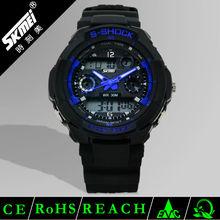 Hot fashion economical multifunctional analog digital watch two time zones