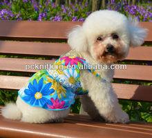 Wholesale 100PCS Pet Dog Products Poplin Blue Pet Dress With Flower Design
