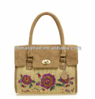 LUDA Leather and Embroidery Cornhusk Straw Tote Bag Natural Craft Straw Bag Swagger Bag