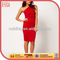 Red One Shoulder Short Sexy Cocktail Dress Patterns