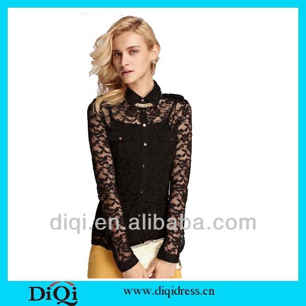 Alta moda del sexo del cordón blusas para damas de 2015-Tallas ...