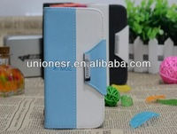 Wholesale double colors design flip pu leather case for samsung galaxy s4 i9500