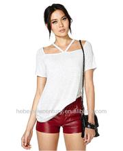 2014 Wholesale Shoulder Cut Short Specially Designed V-neck Collar Female T-shirt with short sleeves