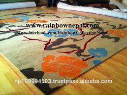 Handmade Himalayan Cream Beige Turquoise Blue Flower Wool Carpet Rug 200x300 cm