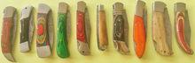 Custom Hand Made Damascus Blade Pocket (Folding) Knife Set (Lot of 10) with Leather Sheaths