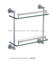 Brass bathroom double tier glass shelf,makeup glass shelf,bathroom shelf