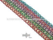 Multicolored Trim Gota Lace Work Craft Fabric Indian Sari Border Trim