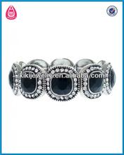 framed faceted black power crystal center elastic band bracelet(B103693)