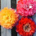 Ling's fiore di carta fiori festa di nozze decor tessuto pon pon decorazione anniversario