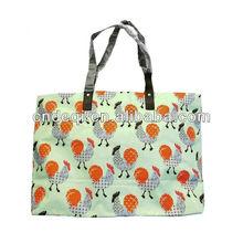 Vintage Cute Hens Print Large Shopper Bag Fashion 2014 Women Handbag