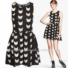 women animal ptinted cat dress skater dress