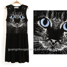 women animal ptinted cat dress