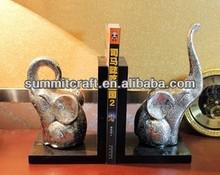 Electroplating long nose elephant decorative book holder polyresin antique mini animalbook holder stand wholesale
