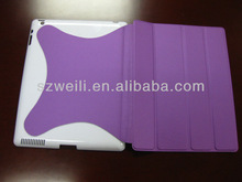 2014 nice looking fluent lines purple foldable case for ipad 4